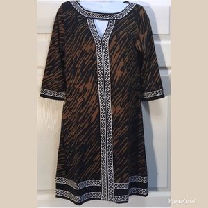 Tracy Negoshian Brown Black Animal Dress S A2 0059